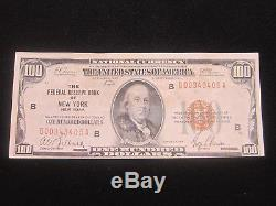 (2) 1929 $100. DOLLAR NATIONAL CURRENCY BANK OF NEW YORK VERY FINE condition