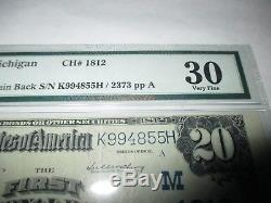 $20 1902 Cassopolis Michigan MI National Currency Bank Note Bill #1812 VF PMG