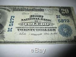 $20 1902 Toledo Illinois IL National Currency Bank Note Bill! Ch #5273 Fine