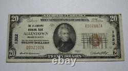 $20 1929 Allentown Pennsylvania PA National Currency Bank Note Bill Ch #1322 VF+