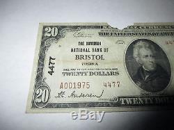 $20 1929 Bristol Virginia VA National Currency Bank Note Bill Ch. #4477 RARE