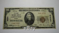 $20 1929 Coffeyville Kansas KS National Currency Bank Note Bill Ch. #3324 VF