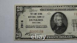 $20 1929 Dunkirk New York NY National Currency Bank Note Bill Ch. #2916 AU++