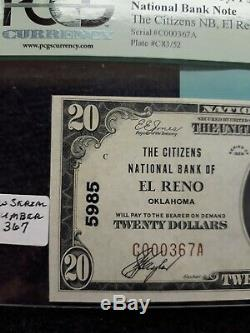 $20 1929 El Reno Oklahoma OK National Currency Bank Note Bill Ch. #5985