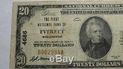 $20 1929 Everett Washington WA National Currency Bank Note Bill Ch. #4686 FINE