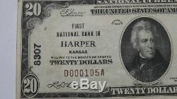$20 1929 Harper Kansas KS National Currency Bank Note Bill Ch. #8307 XF+ RARE