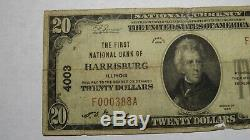 $20 1929 Harrisburg Illinois IL National Currency Bank Note Bill! Ch. #4003 RARE