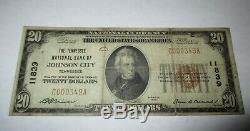 $20 1929 Johnson City Tennessee TN National Currency Bank Note Bill #11839 Fine
