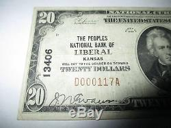 $20 1929 Liberal Kansas KS National Currency Bank Note Bill! Ch. #13406 VF