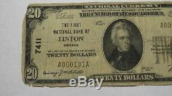 $20 1929 Linton Indiana IN National Currency Bank Note Bill Ch. #7411 RARE