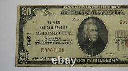 $20 1929 McComb City Mississippi MS National Currency Bank Note Bill! #7461 FINE