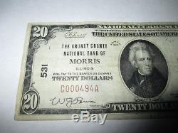 $20 1929 Morris Illinois IL National Currency Bank Note Bill Ch. #531 Fine