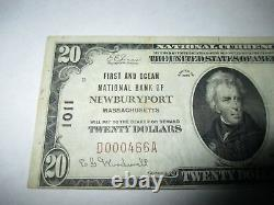 $20 1929 Newburyport Massachusetts MA National Currency Bank Note Bill #1011 VF