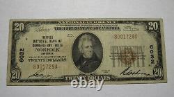 $20 1929 Norfolk Virginia VA National Currency Bank Note Bill Charter #6032 FINE