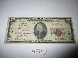 $20 1929 Ottawa Kansas KS National Currency Bank Note Bill! Ch. #1718 FINE