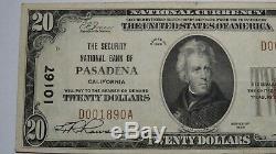 $20 1929 Pasadena California CA National Currency Bank Note Bill Ch #10167 XF+