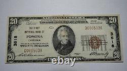 $20 1929 Pomona California CA National Currency Bank Note Bill! Ch. #3518 FINE