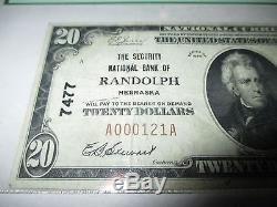 $20 1929 Randolph Nebraska NE National Currency Bank Note Bill #7477 VF PCGS