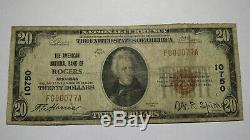 $20 1929 Rogers Arkansas AR National Currency Bank Note Bill Ch. #10750 FINE