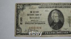 $20 1929 Romeo Michigan MI National Currency Bank Note Bill Ch. #2186 FINE+