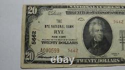 $20 1929 Rye New York NY National Currency Bank Note Bill! Ch. #5662 RARE