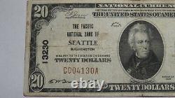 $20 1929 Seattle Washington WA National Currency Bank Note Bill Ch. #13230 VF