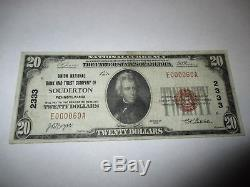 $20 1929 Souderton Pennsylvania PA National Currency Bank Note Bill #2333 VF