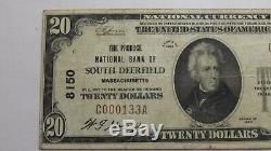 $20 1929 South Deerfield Massachusetts MA National Currency Bank Note Bill! VF25