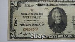 $20 1929 Wellesley Massachusetts MA National Currency Bank Note Bill #7297 Fine