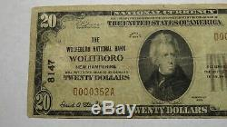$20 1929 Wolfeboro New Hampshire NH National Currency Bank Note Bill Ch #8147 VF