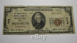 $20 1929 Wooster Ohio OH National Currency Bank Note Bill Ch. #5065 Fine! RARE