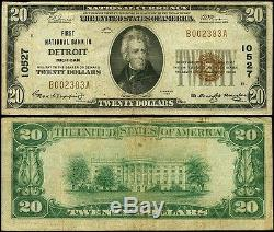 $20 Detroit Michigan First National Bank 1929#10527national Currency