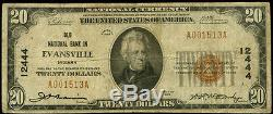 $20 Evansville Indiana Old National Bank 1929#12444national Currency