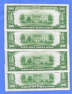 4-1929 $20 National Currency Ch# 2479 Nat. Bank Of Warren Oh Sequential# Notes