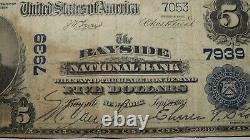 $5 1902 Bayside New York NY National Currency Bank Note Bill! Ch. #7939 RARE