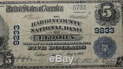 $5 1902 Eldora Iowa IA National Currency Bank Note Bill Ch. #9233 VF! PMG Graded
