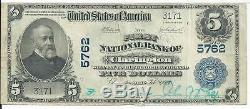 $5 1902 First National Bank Clarington Ohio GUTTER Error Currency Note CH# 5762