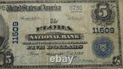 $5 1902 Flora Illinois IL National Currency Bank Note Bill! Ch. #11509 FINE