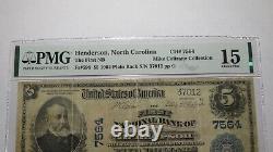 $5 1902 Henderson North Carolina NC National Currency Bank Note Bill Ch. #7564