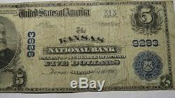 $5 1902 Kansas Illinois IL National Currency Bank Note Bill! Ch. #9293 FINE