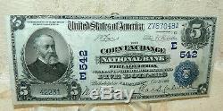 $5 1902 National Currency Corn Exchange National Bank Philadelphia Pa #542