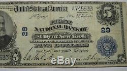 $5 1902 New York City NY National Currency Bank Note Bill! Ch. #29 FINE! RARE