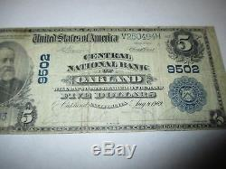 $5 1902 Oakland California CA National Currency Bank Note Bill! Ch. #9502 FINE