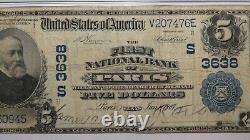 $5 1902 Paris Texas TX National Currency Bank Note Bill! Ch. #3638 Fine 15 PMG