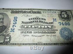$5 1902 Tipton Indiana IN National Currency Bank Note Bill! Ch #7496 Fine