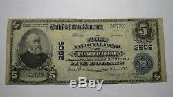 $5 1902 Toms River New Jersey NJ National Currency Bank Note Bill! Ch #2509 FINE