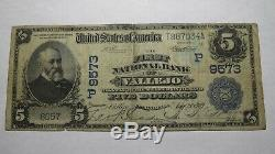 $5 1902 Vallejo California CA National Currency Bank Note Bill! #9573 Date Back