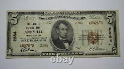 $5 1929 Annville Pennsylvania PA National Currency Bank Note Bill Ch. #2384 VF+