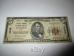 $5 1929 Arcanum Ohio OH National Currency Bank Note Bill! Ch. #4839 Fine