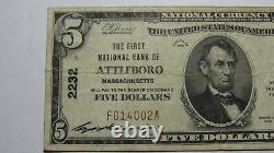 $5 1929 Attleboro Massachusetts MA National Currency Bank Note Bill Ch #2232 VF